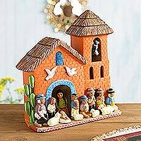 Ceramic nativity scene, 'Birth in the Bell Tower' - Artisan Crafted Nativity Scene Ceramic Sculpture from Peru