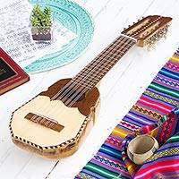 Wood charango guitar, 'Inca Sun' - Genuine Peruvian Charango Guitar with Case