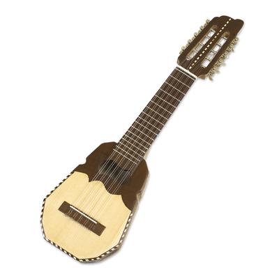 Wood charango guitar, 'Inca Sun' - Genuine Peruvian Charango Guitar with Case