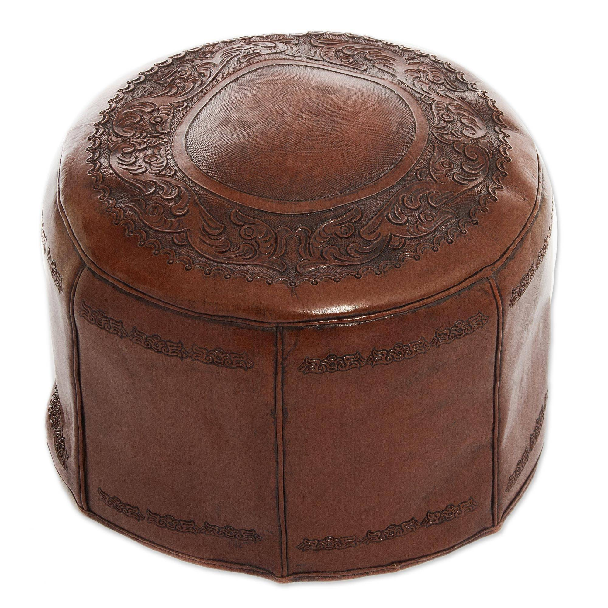 2a073c11eed UNICEF Market   Colonial Leather Pouf Ottoman Cover - Spanish Elegance