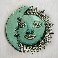Copper eclipse, 'Stellar Guidance' - Handmade Sun and Moon Copper and Bronze Wall Art