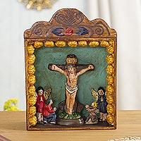 Retablo, 'Crucifixion' - Handmade Peruvian Wood Retablo Folk Art