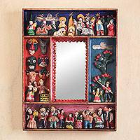 Mirror, 'Little Carnaval' - Handcrafted Nativity Scene Mirror from Peru