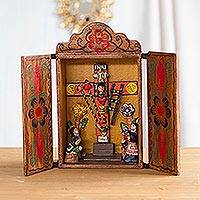 Painted wood retablo, 'Cross of Lamentation' - Hand Made Religious Wood Retablo Diorama Andean Folk Art
