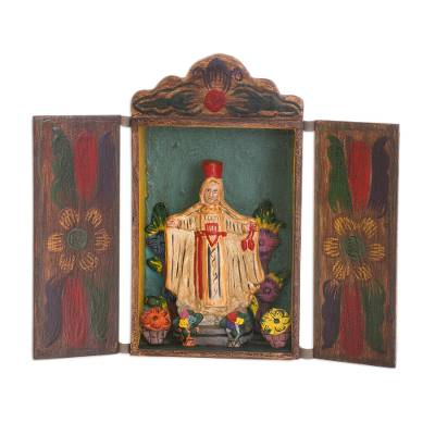 Retablo, 'Our Lady of Mount Carmel' - Handmade Folk Art Retablo Sculpture of the Virgen del Carmen
