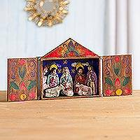 Retablo, 'Jesus Spoke of Peace' - Fair Trade Nativity Scene Retablo Wood Sculpture