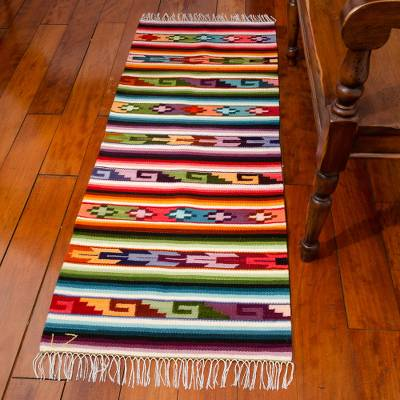 Wool runner, 'Andean Magic' (2x5) - Geometric Wool Area Rug (2x5)