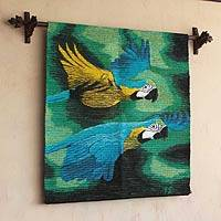 Wool tapestry, 'Amazon Macaws' - Handmade Wool Bird Tapestry Wall Hanging