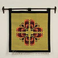 Wool tapestry, 'Cross of Butterflies' - Butterfly Motif Wool Wall Hanging
