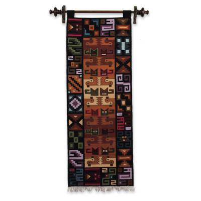 Wool tapestry, 'Of Cats and Ducks' - Unique Animal Themed Wool Hand Loomed Tapestry
