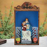 Retablo, 'Our Lady of Fatima' - Handmade Wood Retablo Sculpture