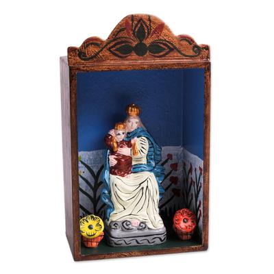 Retablo, 'Our Lady of Fatima' - Handmade Wood Retablo Sculpture