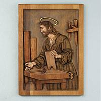 Cedar relief panel, 'Saint Joseph, the Carpenter' - Handcrafted Religious Wood Relief Panel