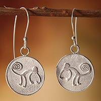 Earrings, 'Nazca Monkeys' - Silver Circular Monkey Hanging Earrings