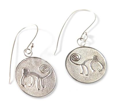Earrings, 'Nazca Monkeys' - Handcrafted Fine Silver Dangle Monkey Earrings