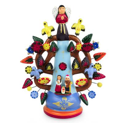 Ceramic candleholder, 'Christmas Light' - Hand Made Christianity Ceramic Tree of Life Candle Holder