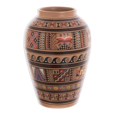 Cuzco vase, 'Inca Spirit' - Cuzco Ceramic Decorative Vase Handmade in Peru