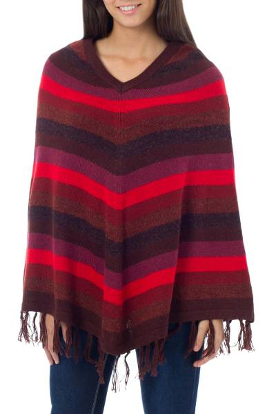Alpaca poncho, 'Grace' - Women's Alpaca Wool Blend Striped Poncho