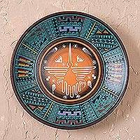 Ceramic plate, 'Nazca Hummingbird' - Artisan Crafted Ceramic Decorative Plate