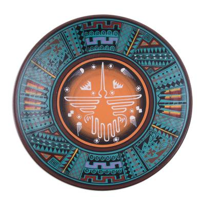 Ceramic plate, 'Nazca Hummingbird' - Artisan Crafted Ceramic Decorative Plate