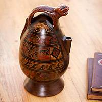 Aged Cuzco vessel, 'Jaguar Decanter' - Peruvian Cuzco Ceramic Wild Cat Aged Vessel