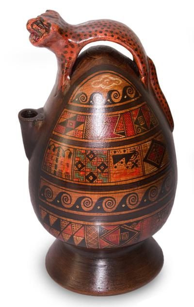 Aged Cuzco vessel, 'Jaguar Decanter' - Peruvian Cuzco Ceramic Wild Cat Aged Vessel