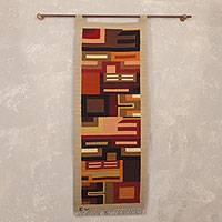 Wool tapestry, 'Stairway to the Future' - Fair Trade Geometric Wool Tapestry Wall Hanging