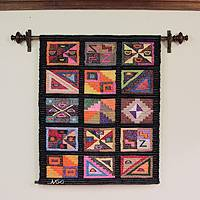 Wool tapestry, 'Ancient Mystique' - Geometric Wool Tapestry Wall Hanging