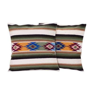 Hand Made Wool Striped Cushion Covers (Pair)