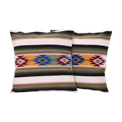 Wool cushion covers, 'Solar Enchantment' (pair) - Hand Made Wool Striped Cushion Covers (Pair)