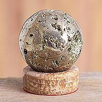 Pyrite sphere, 'Glitter' - Pyrite Gemstone Sculpture from Peru