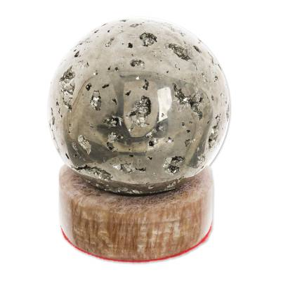 Pyrite sphere, 'Glitter' - Pyrite Sphere Gemstone Sculpture with Calcite Stand