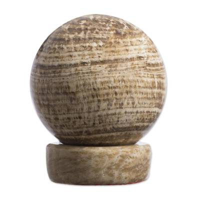 Aragonite sphere, 'Mars' - Aragonite Sphere Gemstone Sculpture with Calcite Base