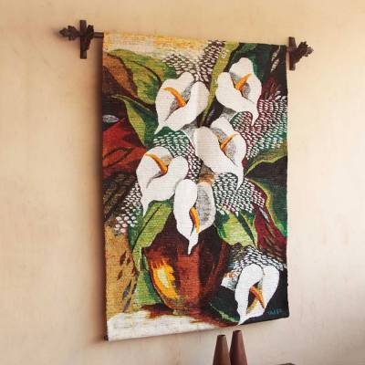 Wool tapestry, Lilies