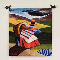 Wool tapestry, 'Return Home After the Fiesta' - Cultural Wool Multicolor Tapestry Wall Hanging
