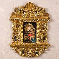 'Madonna with the Child' - Colonial Miniature Madonna Painting in Bronze Leaf Frame