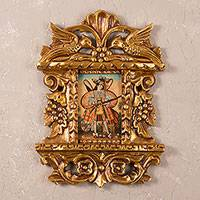 'Archangel' - Bronze Leaf Cedar Framed Colonial Replica Archangel Painting
