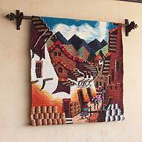 Wool tapestry, 'Village Lane' - Cultural Wool Tapestry Wall Hanging