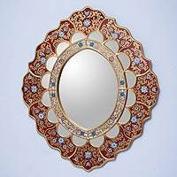 Mirror, 'Golden Rays' - Unique Reverse Painted Glass Mirror from Peru
