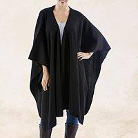 Alpaca blend Ruana, 'Versatile Black' - Alpaca Wool Solid Shawl in Black