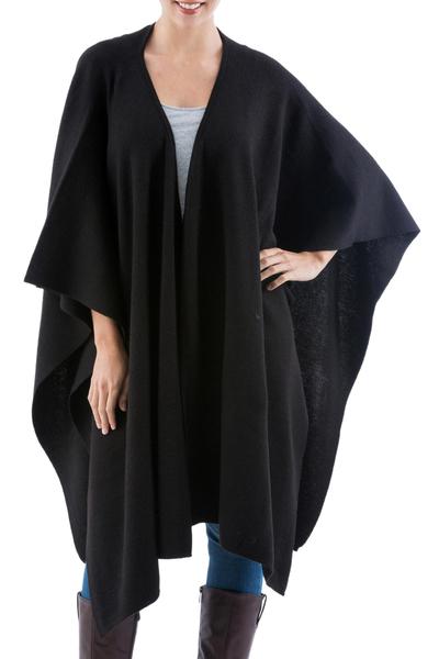 Alpaca blend Ruana, 'Versatile Black' - Alpaca Wool Solid Ruana in Black