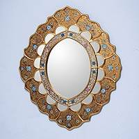 Reverse painted glass mirror, 'Sweet Flower Majesty' - Handcrafted Painted Golden Floral Mirror