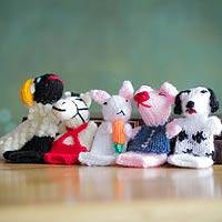 Wool finger puppets, 'Playful Farm Animals' - Wool finger puppets