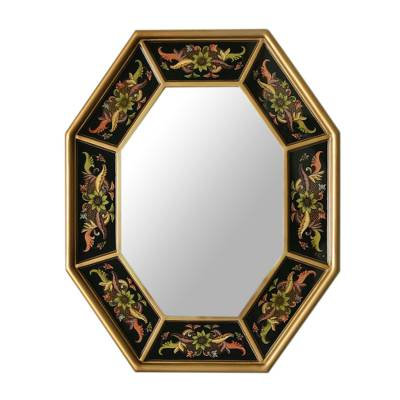 Mirror, 'Dawn Garlands' - Hand Crafted Floral Glass Wood Wall Mirror