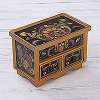 Painted glass chest of drawers, 'Renaissance' - Collectible Reverse Painted Glass Decorative Jewelry Box