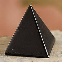 Onyx pyramid, 'Black Night of Peace' - Peruvian Onyx Pyramid Sculpture