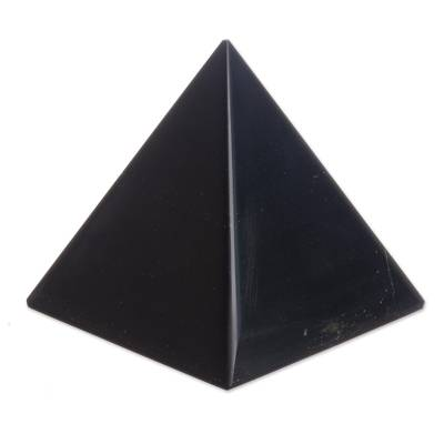 Onyx pyramid, 'Black Night of Peace' - Onyx Gemstone Sculpture