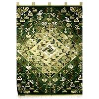 Wool tapestry, 'Emerald Birds and Butterflies' - Wool tapestry