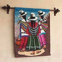 Wool tapestry, 'The Travelers' - Handcrafted Cultural Wool Tapestry Wall Hanging