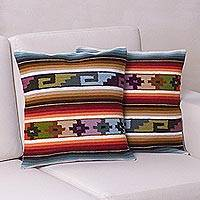 Wool cushion covers, 'Sunset Temple' (pair) - Hand Made Wool Patterned Cushion Covers (Pair)